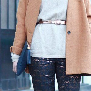 Boden Navy/ Rose Gold Lace Pants Sz 2